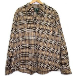 Woolrich Flannel Long Sleeve Shirt 2XL Tan Blue